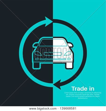 Two halves of the car with an exchange arrow index on a blue and black background. Concept get prettier transactions it is made with the vehicle. A vector illustration in flat style for advertizing posters banners and other purposes.