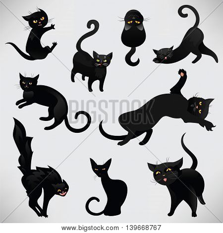 Set of black cats for Halloween. Black cats in cartoon style in different poses. Funny black cats. Vector illustration.