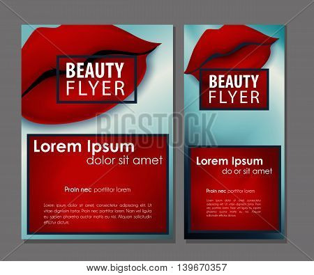 Female offer with sexy red vector lips. Beauty defiant business card set.