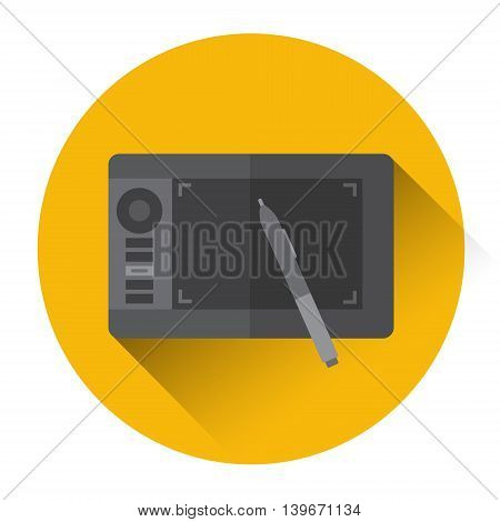 Professional Tablet Drawing Computer Icon Flat Vector Illustration