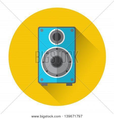 Music Studio Audio Monitor Speakers Column Icon Flat Vector Illustration