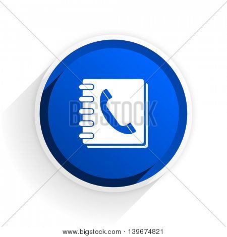 phonebook flat icon with shadow on white background, blue modern design web element