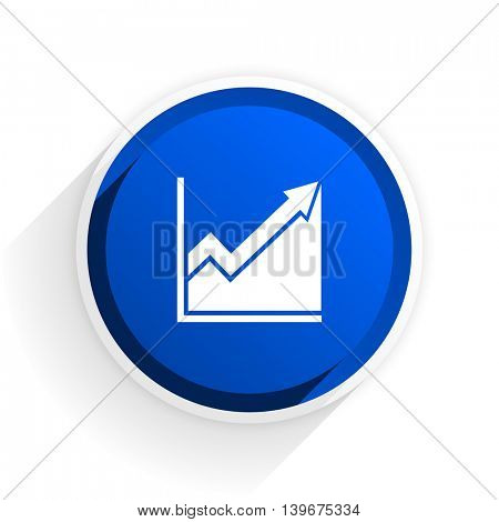 histogram flat icon with shadow on white background, blue modern design web element