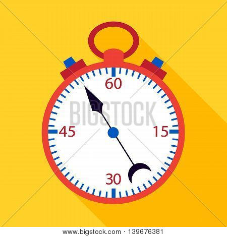 Stopwatch flat over yelow. Vector illustration of measuring tool.