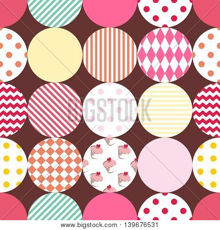 Tile patchwork vector pattern with pastel polka dots on brown background