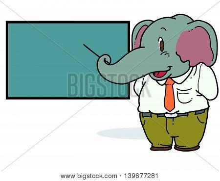 Illustration of cartoon elephant teaching in class