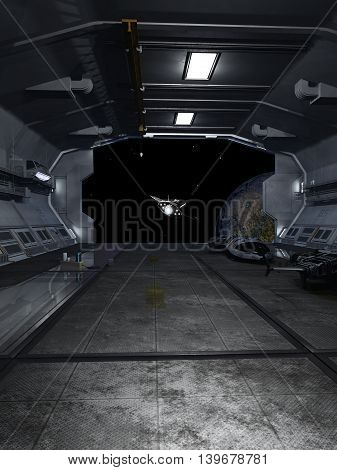 Science fiction illustration of an interplanetary spaceship leaving the docking bay of a space station, digital illustration (3d rendering)