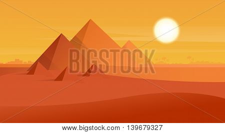 Desert View Egypt Pyramids Sunset Flat Vector Illustration