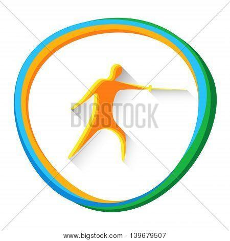 Fencing Sport Game Logo Fencer Icon Vector Illustration