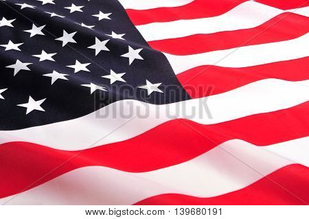 Photo of the USA National Flag close-up