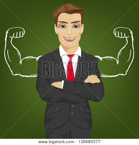 Young man teacher, salesman or businessman with chalk healthy strong arm muscles for success