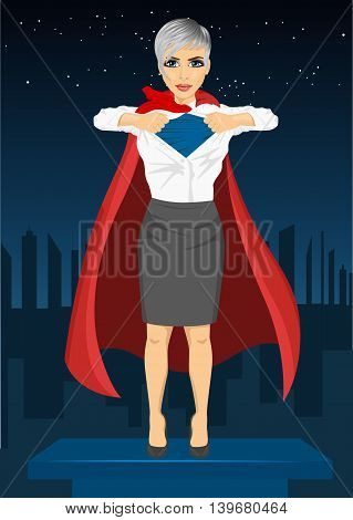Young businesswoman dressed like a super hero and tearing her shirt off watching over night city