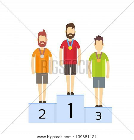 Champions On Pedestal With Medals Sport Competition Flat Vector Illustration