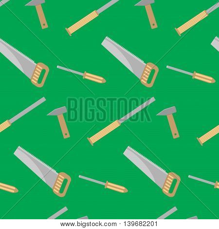 Tools for carpentry seamless pattern. Chisel and hammer saw equipment vector illustration