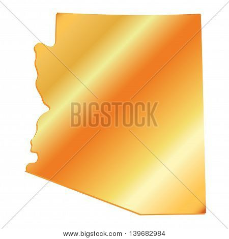 3D Arizona State Boundary Gold Tint with Shadow