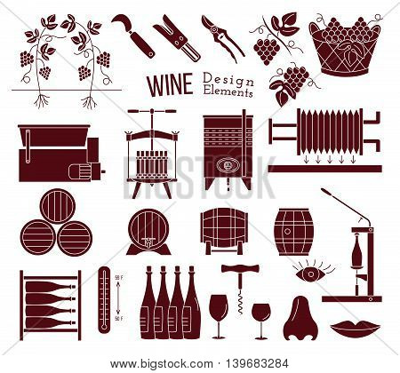 Wine Making And Wine Tasting Design Elements