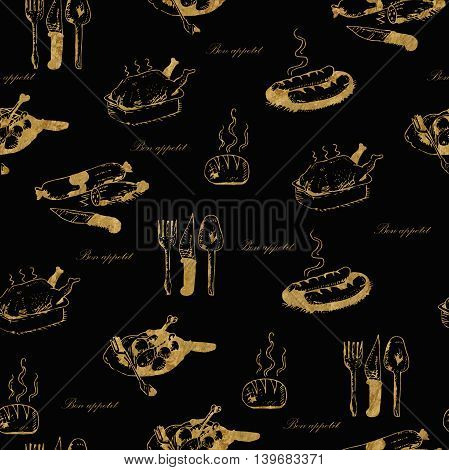 Golden seamless hand-drawn food pattern with the words bon appetit on black.