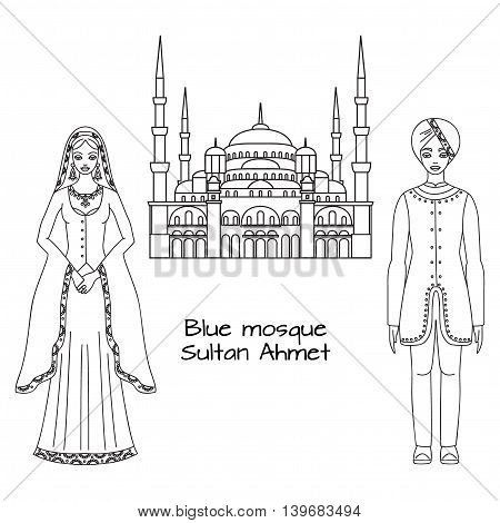 Traditional turkish clothing, national middle east cloth, man and woman sultan costume and The Blue Mosque, Sultanahmet Camii, Istanbul, Turkey, middle east islamic architecture outline
