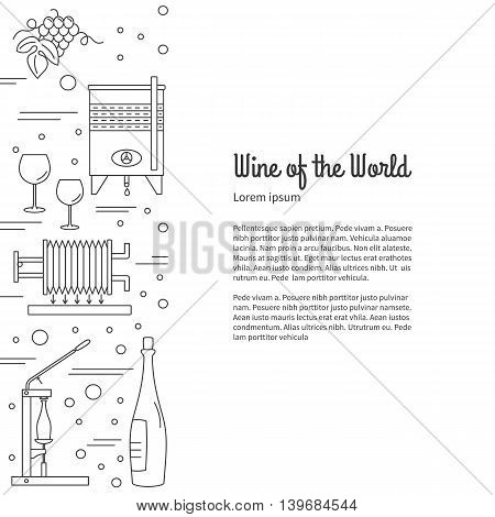 Winemaking wine tasting flyer poster with winery symbols with place for your text. Vector design template with winery graphic design elements in mono line style isolated on a white background.