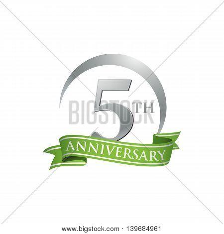 5th anniversary green logo template. Creative design. Business success