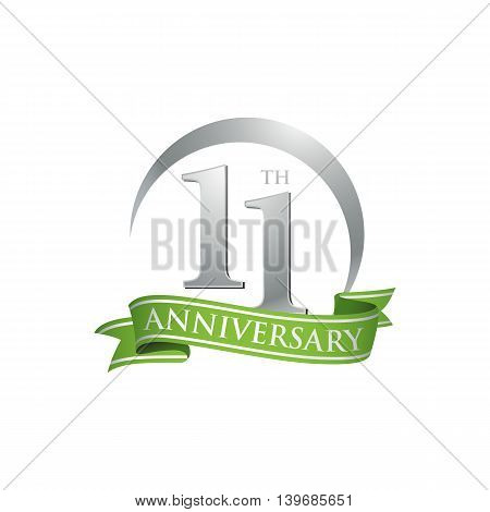 11th anniversary green logo template. Creative design. Business success