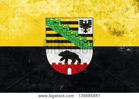Flag Of Saxony-anhalt With Coat Of Arms, Germany, With A Vintage