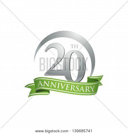 20th anniversary green logo template. Creative design. Business success