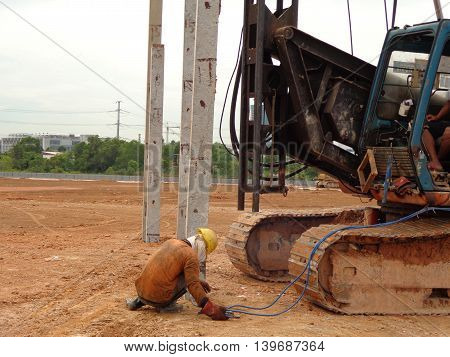MELAKA, MALAYSIA -JUNE 16, 2016: Piling driven machine at the construction site.
