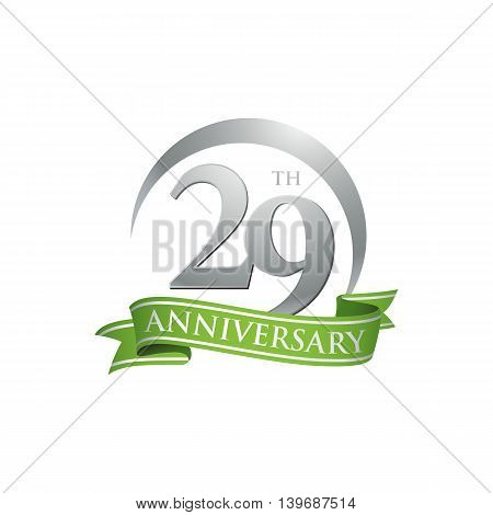 29th anniversary green logo template. Creative design. Business success