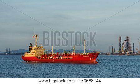 Vung Tau, Vietnam, 30th June 2016. LPG Tanker 'VENUS 08' at anchor on sea close to harbor of Vung Tau, Vietnam.