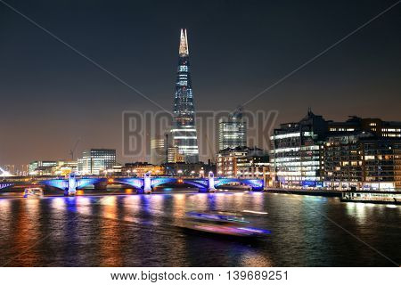 LONDON, UK - SEP 27: The Shard at night on September 27, 2013 in London, UK. the Shard is currently the tallest building in the European Union