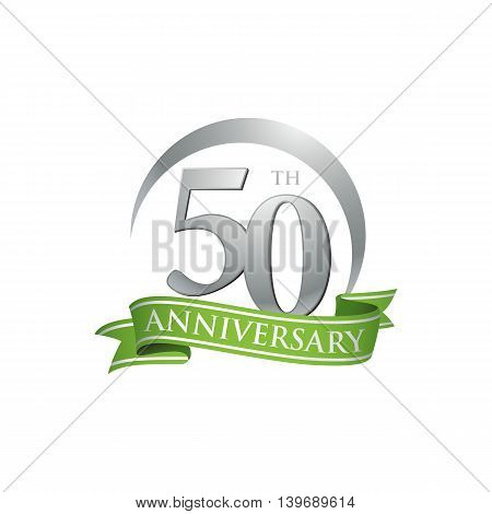 50th anniversary green logo template. Creative design. Business success
