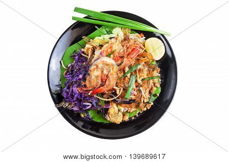 Stir fried Seaweed glass line with Shrimp (Pad Thai) Food Low Carbohydrate for to lose weight. Isolated on white with work paths.