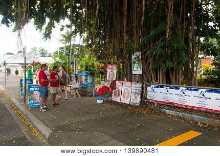 Melbourne, Australia - July 2, 2016:  A polling station in the rural town of Mossman in Queensland, Australia, on federal election day.