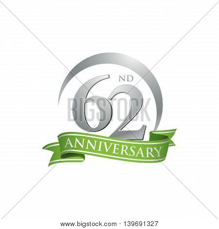 62nd anniversary green logo template. Creative design. Business success
