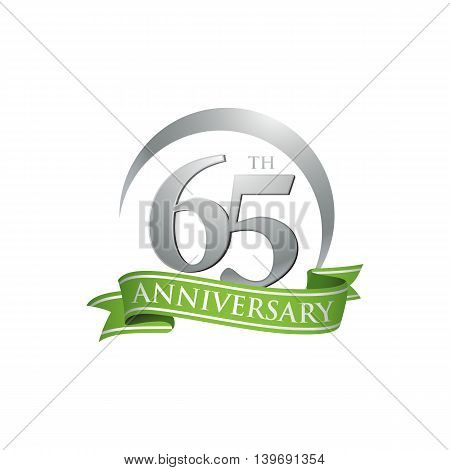 65th anniversary green logo template. Creative design. Business success
