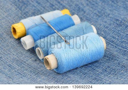Threads On Jeans Backround