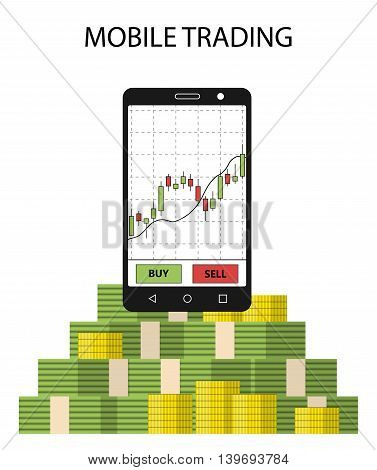 Tablet smartphone with stock chart and pack of money. Concept of online trading. Forex money income. Vector illustration.