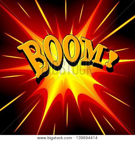 Boom comic cartoon. Vector illustration with yellow-red star on black background and inscription. Explosion template.