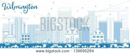 Outline Wilmington Skyline with Blue Buildings. Business Travel and Tourism Concept with Modern Buildings. Image for Presentation Banner Placard and Web Site.