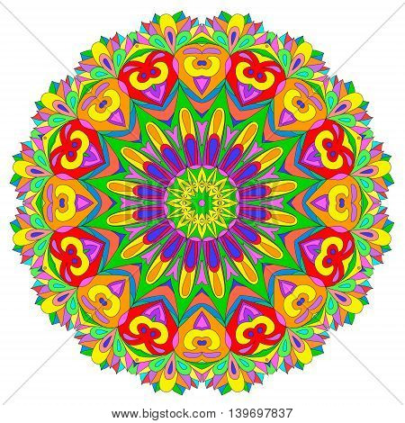 Ornamental round organic pattern circle colorful mandala with many details on white background. Оrnament can be used for wallpaper pattern fills backgroundsurface textures round ornamental natural doily pattern mandala.