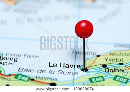 Le Havre pinned on a map of France