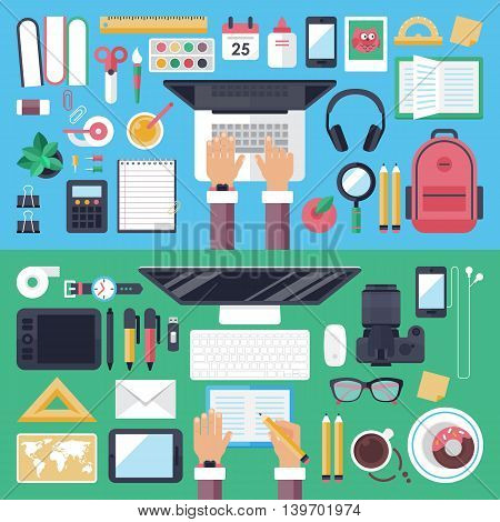 Online Education And Mobile E-learnig Concept With Flat Icons And Symbols On Top View Table For Webs