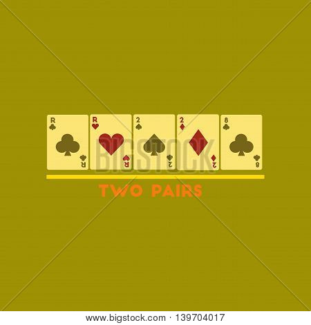 flat icon on stylish background poker two pairs