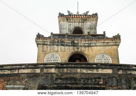 Show of Traditional style vietnamese multi tiered building