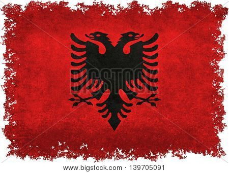 Albanian national flag with distressed textures and edges