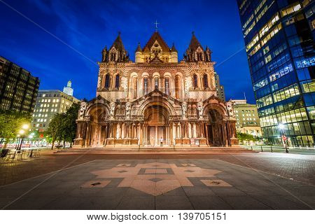 Trinity Church At Night, At Copley Square, In Back Bay, Boston, Massachusetts.