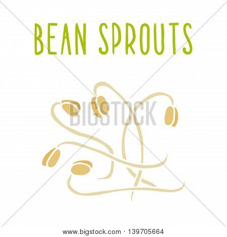 Bean sprouts isolated on white. Vector hand drawn illustration