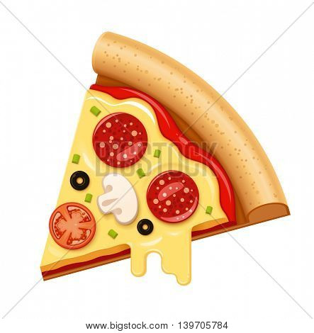 Vector hot pizza slice with sticky melting cheese, tomato and salami icon