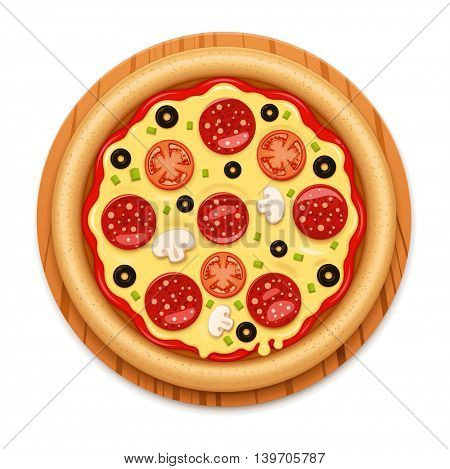Vector detailed hot pizza with sticky melting cheese, tomato and salami on wooden cutting board icon